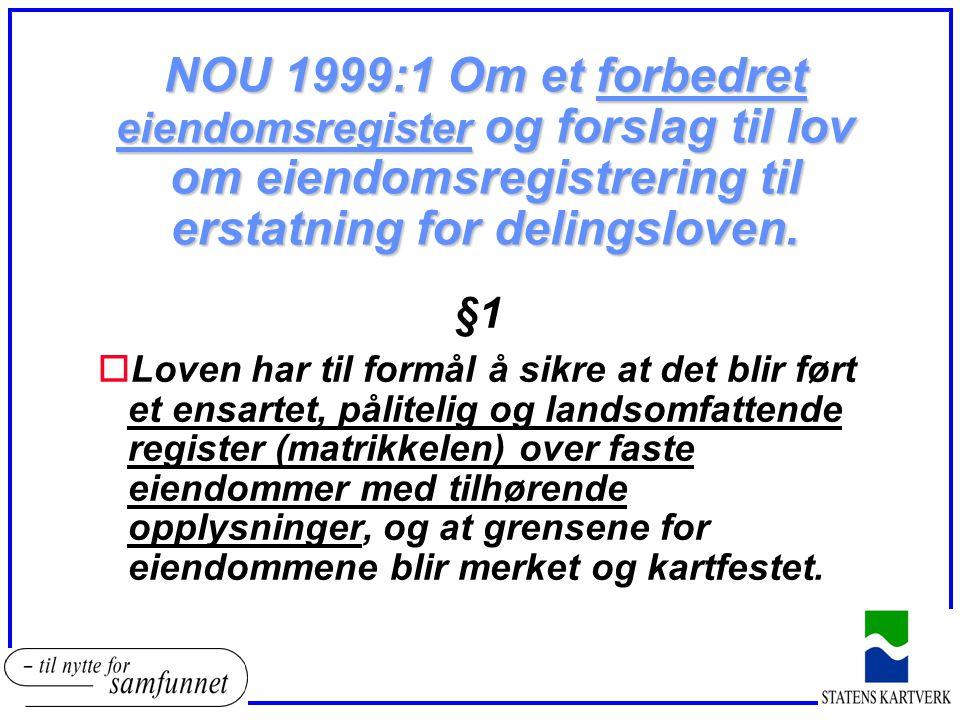 NOU 1999:1 Om et forbedret eiendomsregister og forslag til lov om eiendomsregistrering til erstatning for delingsloven. §1 oLoven har til formål å sik