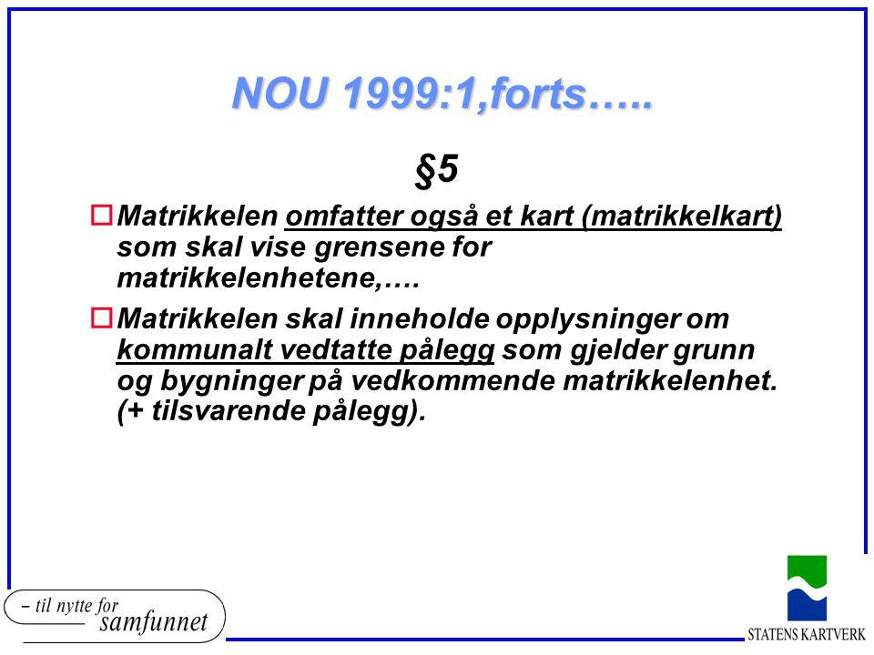 NOU 1999:1,forts….. §5 oMatrikkelen omfatter også et kart (matrikkelkart) som skal vise grensene for matrikkelenhetene,…. oMatrikkelen skal inneholde