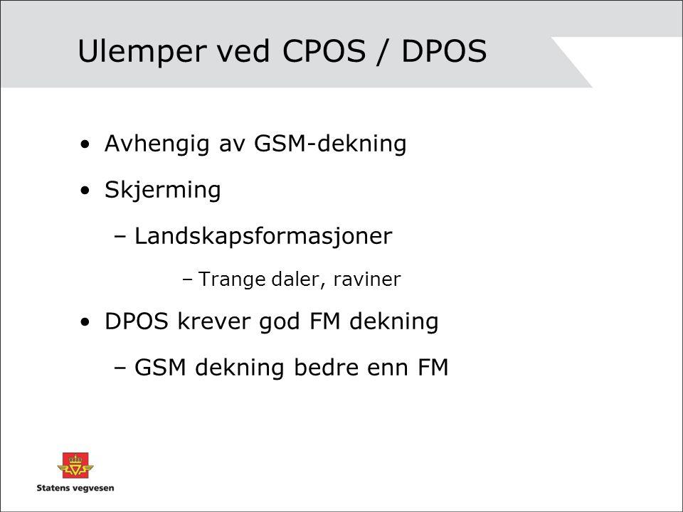 Ulemper ved CPOS / DPOS Avhengig av GSM-dekning Skjerming –Landskapsformasjoner –Trange daler, raviner DPOS krever god FM dekning –GSM dekning bedre enn FM