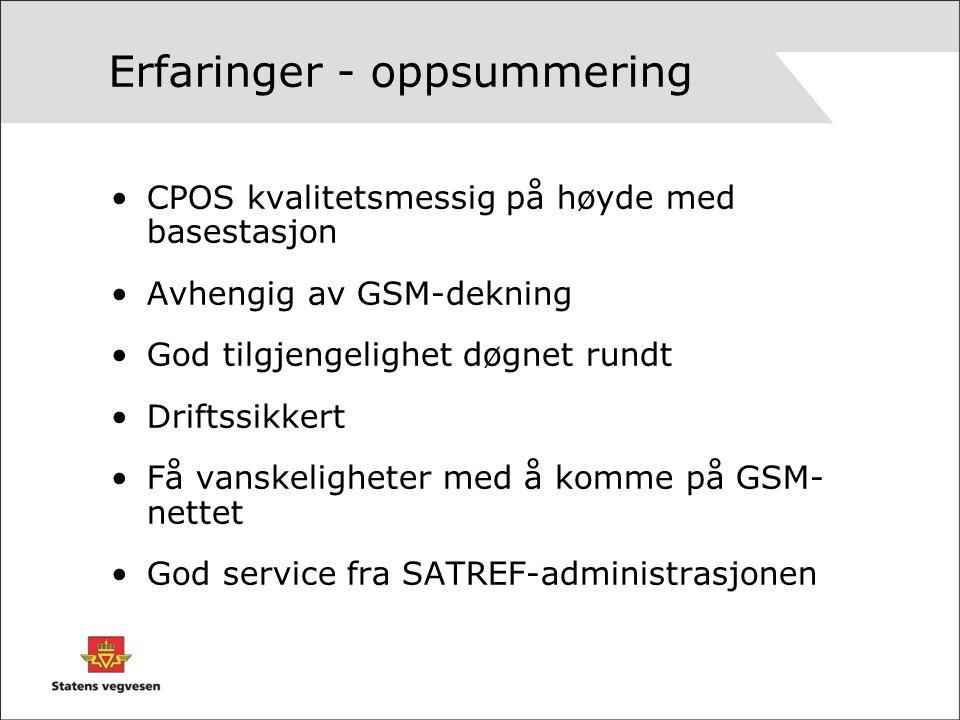 Erfaringer - oppsummering CPOS kvalitetsmessig på høyde med basestasjon Avhengig av GSM-dekning God tilgjengelighet døgnet rundt Driftssikkert Få vanskeligheter med å komme på GSM- nettet God service fra SATREF-administrasjonen