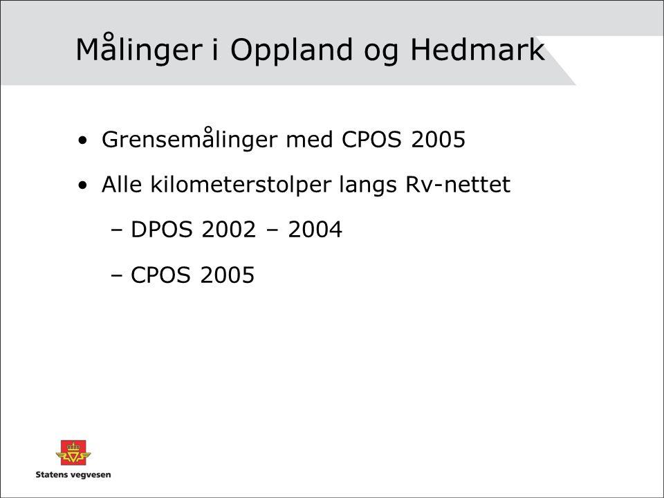 Målinger i Oppland og Hedmark Grensemålinger med CPOS 2005 Alle kilometerstolper langs Rv-nettet –DPOS 2002 – 2004 –CPOS 2005
