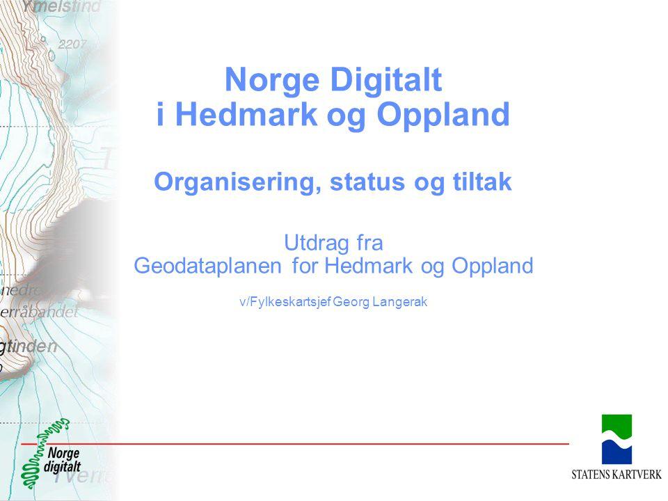 Norge Digitalt i Hedmark og Oppland Organisering, status og tiltak Utdrag fra Geodataplanen for Hedmark og Oppland v/Fylkeskartsjef Georg Langerak