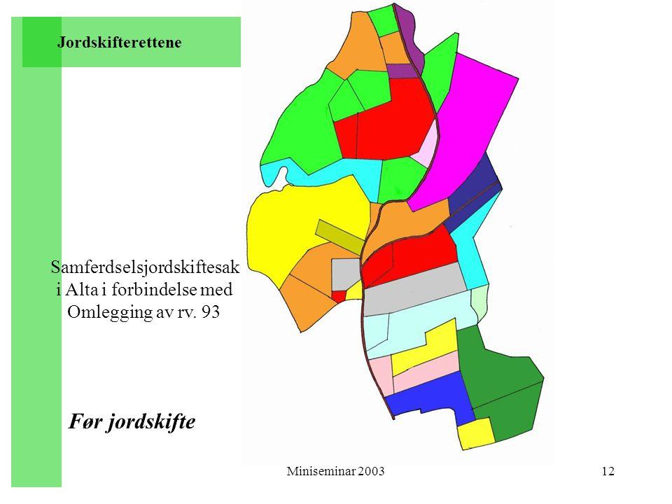 Miniseminar 200312 Samferdselsjordskiftesak i Alta i forbindelse med Omlegging av rv. 93 Før jordskifte Jordskifterettene