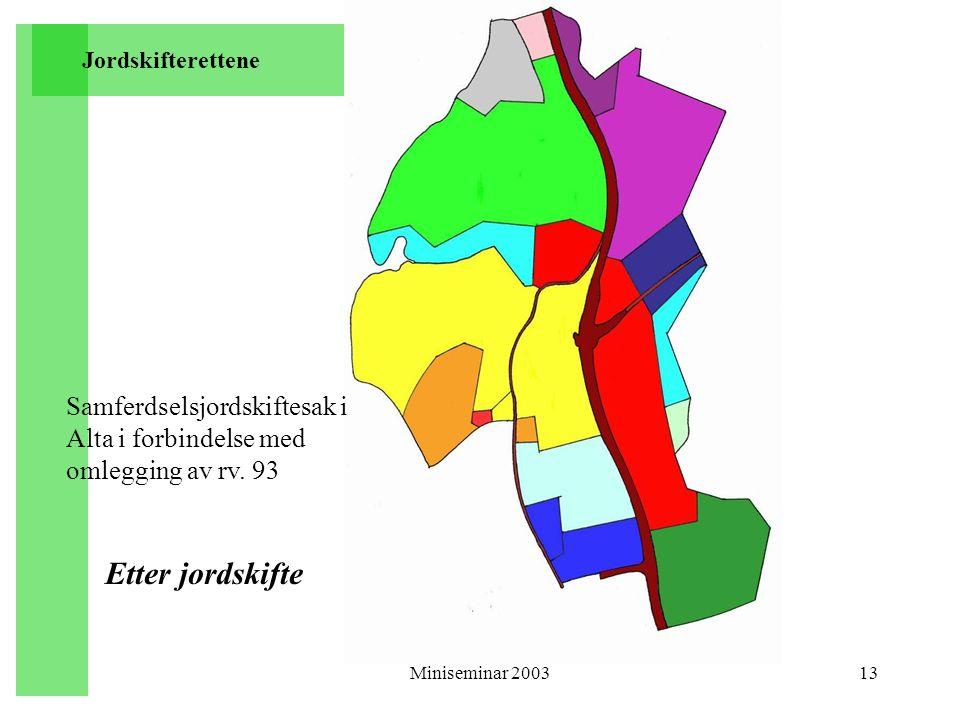 Miniseminar 200313 Etter jordskifte Jordskifterettene Samferdselsjordskiftesak i Alta i forbindelse med omlegging av rv. 93