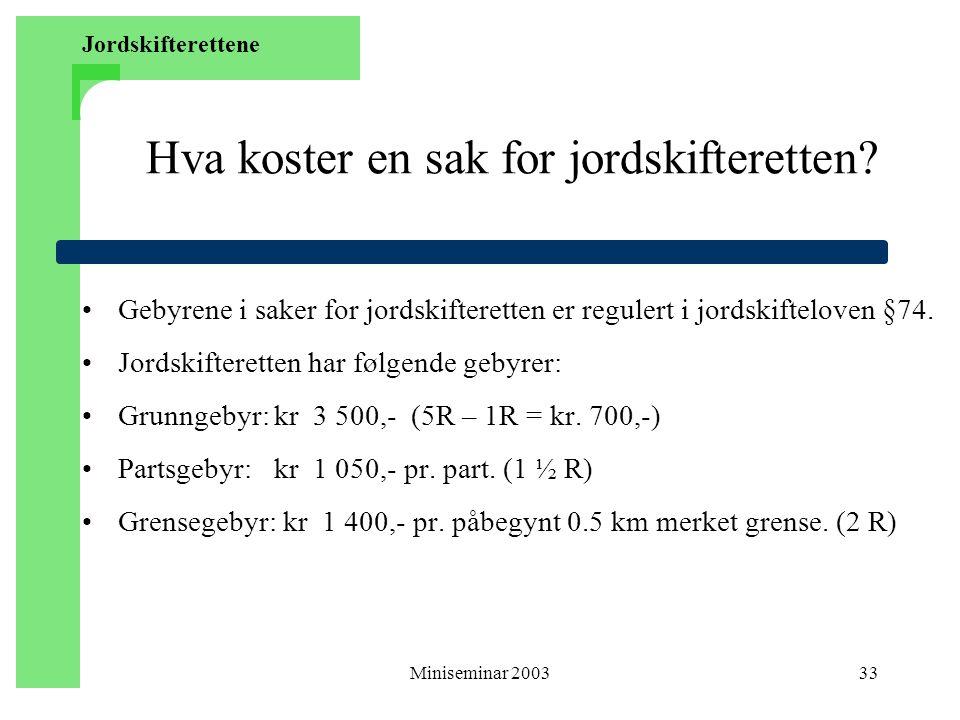 Miniseminar 200333 Hva koster en sak for jordskifteretten.