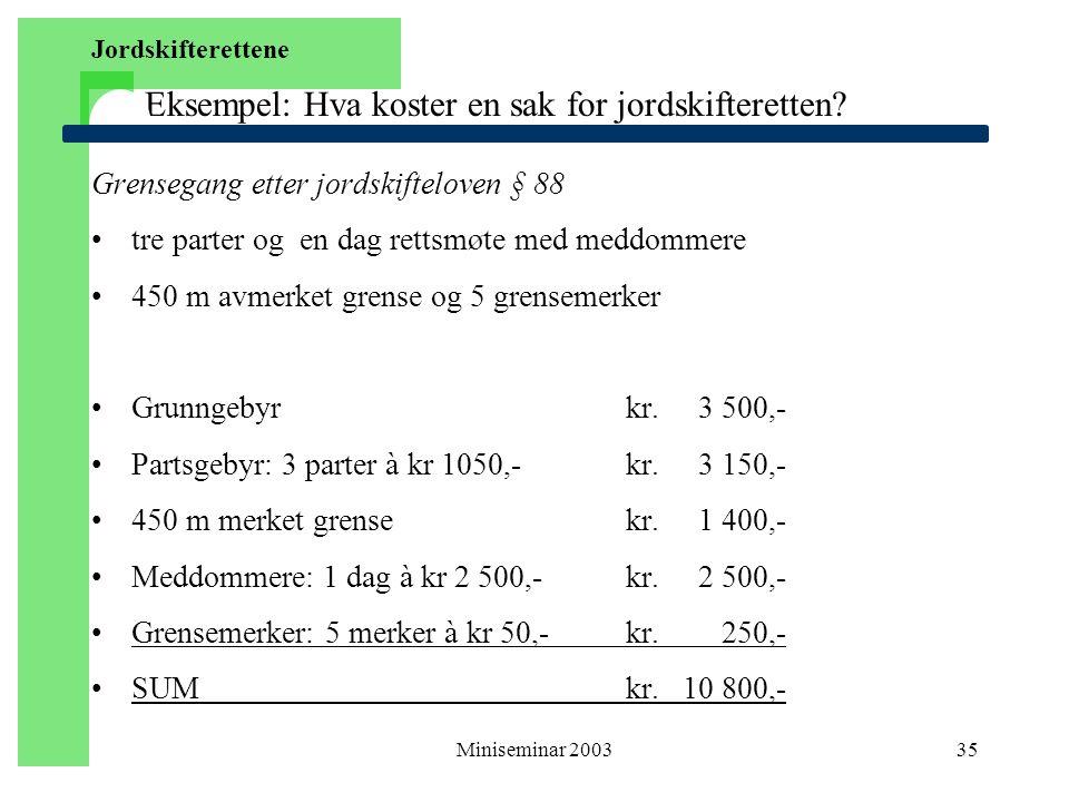 Miniseminar 200335 Eksempel: Hva koster en sak for jordskifteretten? Grensegang etter jordskifteloven § 88 tre parter og en dag rettsmøte med meddomme