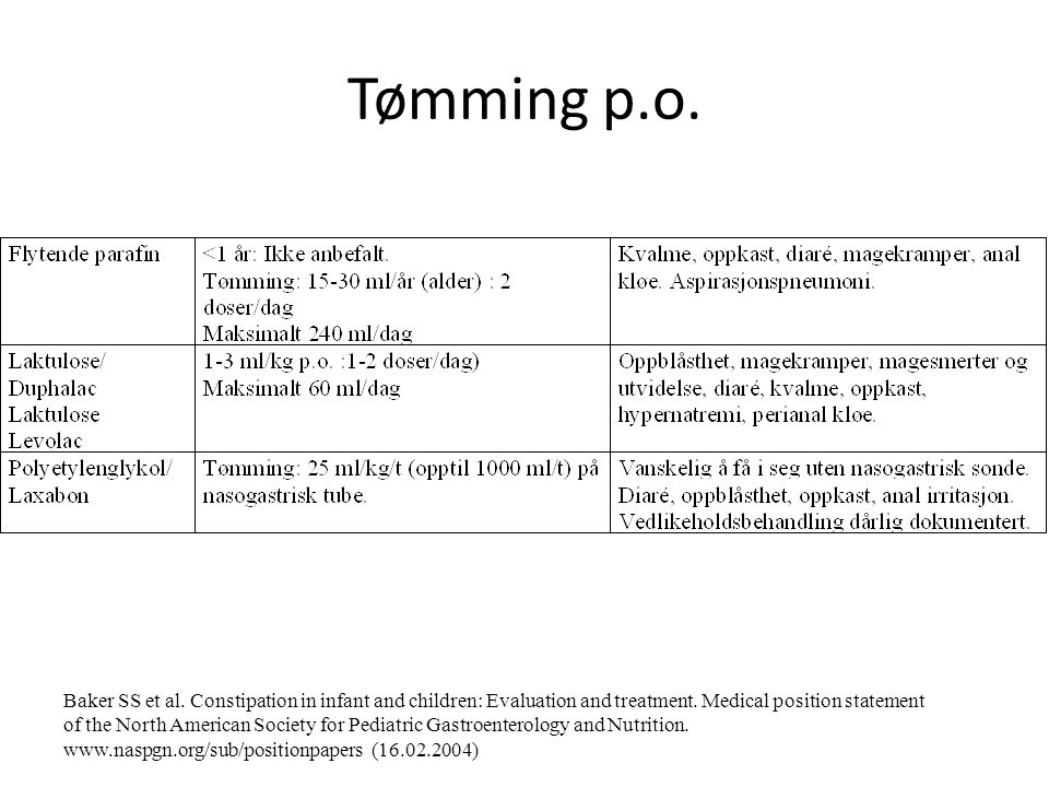 Tømming p.o.Baker SS et al. Constipation in infant and children: Evaluation and treatment.