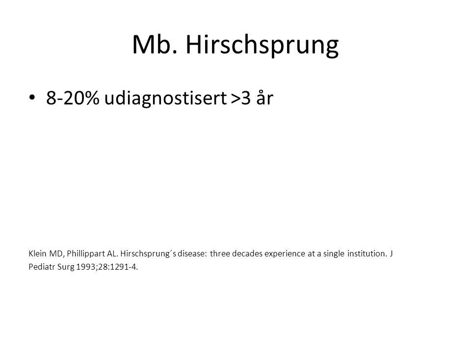 Mb. Hirschsprung 8-20% udiagnostisert >3 år Klein MD, Phillippart AL. Hirschsprung´s disease: three decades experience at a single institution. J Pedi