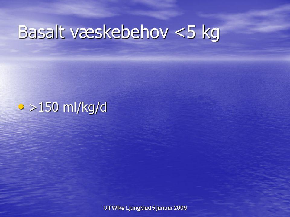 Ulf Wike Ljungblad 5 januar 2009 Basalt væskebehov barn >5 kg Holliday-Segars formel Holliday-Segars formel –kaloribehov i kcal=vätskebehov i ml –100 ml/kg/d för första 10 kg –50 ml/kg/d för nästa 10 kg –20 ml/kg för vikt över 20 kg