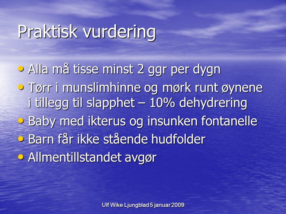 Ulf Wike Ljungblad 5 januar 2009 Praktisk vurdering Alla må tisse minst 2 ggr per dygn Alla må tisse minst 2 ggr per dygn Tørr i munslimhinne og mørk