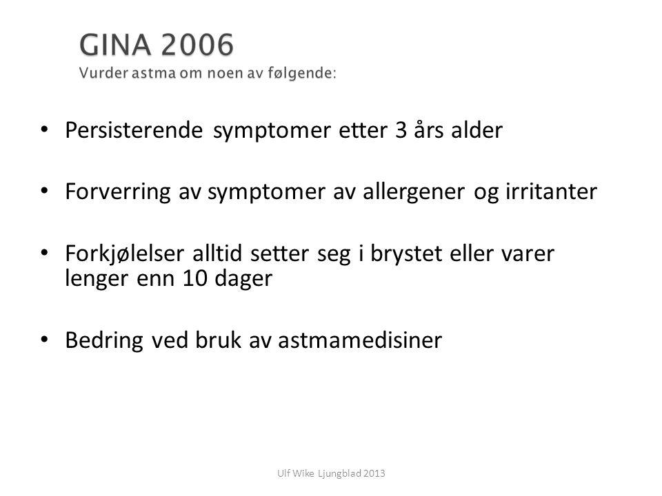 Ulf Wike Ljungblad 2013 Persisterende symptomer etter 3 års alder Forverring av symptomer av allergener og irritanter Forkjølelser alltid setter seg i