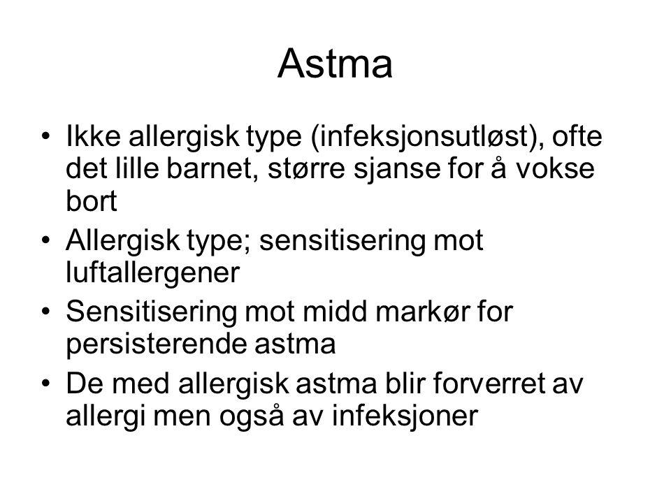 Astma Ikke allergisk type (infeksjonsutløst), ofte det lille barnet, større sjanse for å vokse bort Allergisk type; sensitisering mot luftallergener Sensitisering mot midd markør for persisterende astma De med allergisk astma blir forverret av allergi men også av infeksjoner