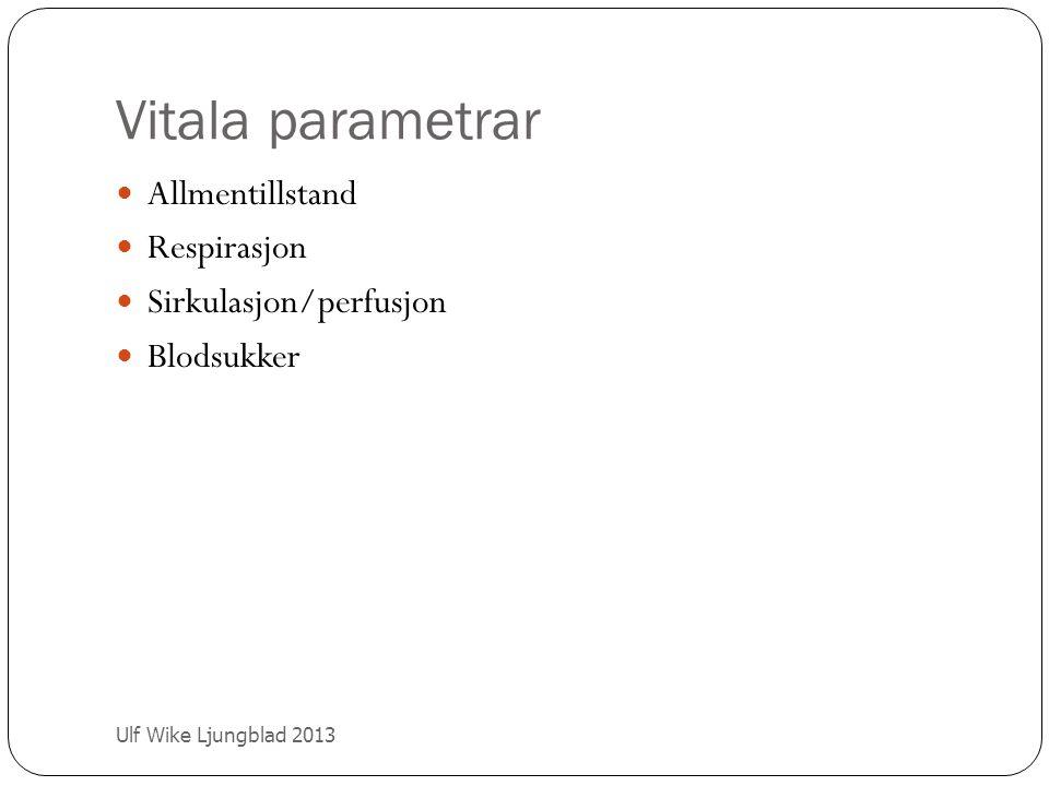 Vitala parametrar Ulf Wike Ljungblad 2013 Allmentillstand Respirasjon Sirkulasjon/perfusjon Blodsukker