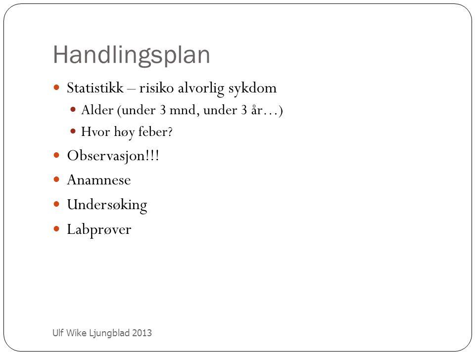 Handlingsplan Ulf Wike Ljungblad 2013 Statistikk – risiko alvorlig sykdom Alder (under 3 mnd, under 3 år…) Hvor høy feber? Observasjon!!! Anamnese Und