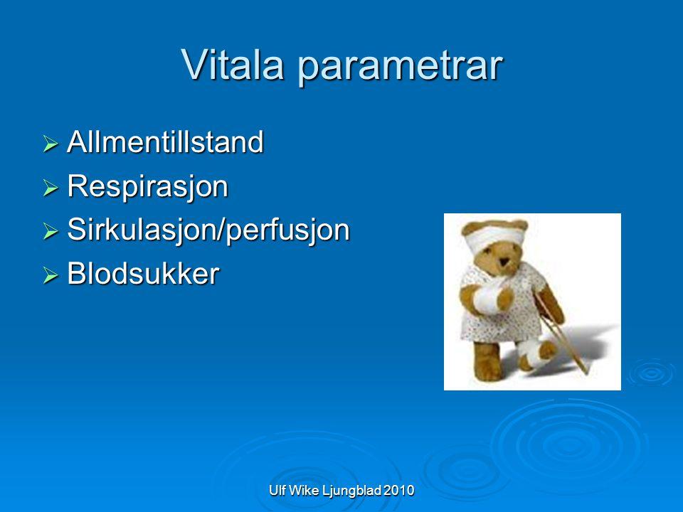 Ulf Wike Ljungblad 2010 Vitala parametrar  Allmentillstand  Respirasjon  Sirkulasjon/perfusjon  Blodsukker
