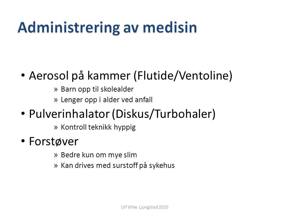 Ulf Wike Ljungblad 2010 Aerosol på kammer (Flutide/Ventoline) » Barn opp til skolealder » Lenger opp i alder ved anfall Pulverinhalator (Diskus/Turboh