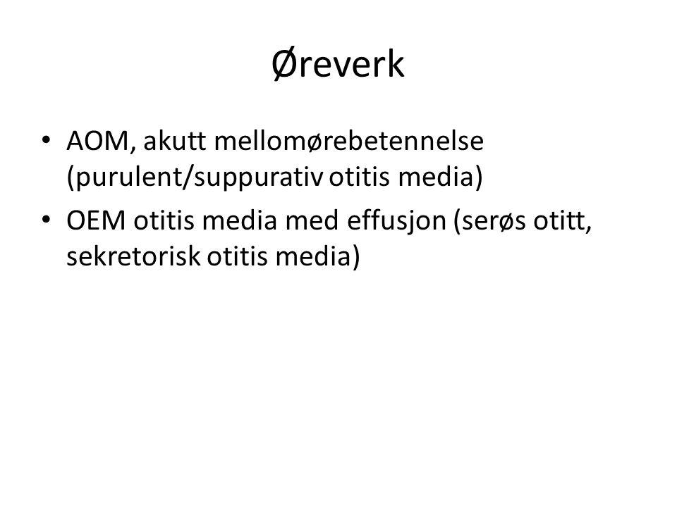 Øreverk AOM, akutt mellomørebetennelse (purulent/suppurativ otitis media) OEM otitis media med effusjon (serøs otitt, sekretorisk otitis media)