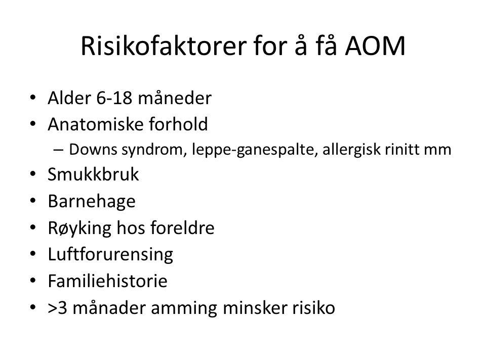 Risikofaktorer for å få AOM Alder 6-18 måneder Anatomiske forhold – Downs syndrom, leppe-ganespalte, allergisk rinitt mm Smukkbruk Barnehage Røyking h