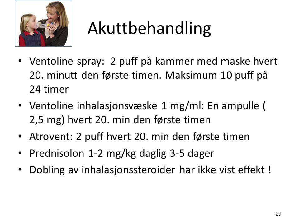 29 Akuttbehandling Ventoline spray: 2 puff på kammer med maske hvert 20.