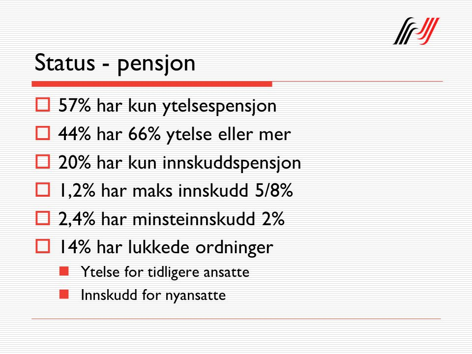 Status - pensjon  57% har kun ytelsespensjon  44% har 66% ytelse eller mer  20% har kun innskuddspensjon  1,2% har maks innskudd 5/8%  2,4% har minsteinnskudd 2%  14% har lukkede ordninger Ytelse for tidligere ansatte Innskudd for nyansatte