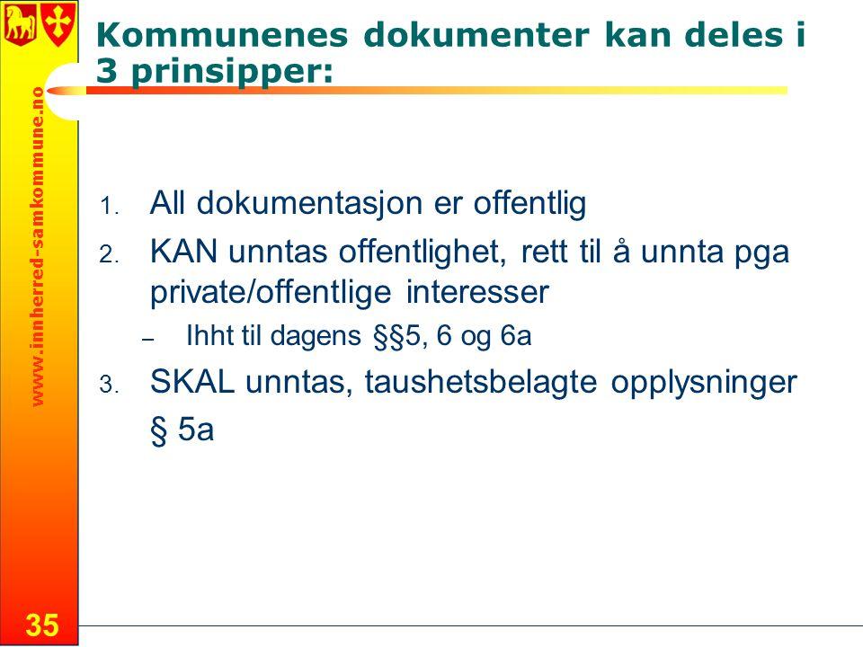 www.innherred-samkommune.no 35 Kommunenes dokumenter kan deles i 3 prinsipper: 1. All dokumentasjon er offentlig 2. KAN unntas offentlighet, rett til