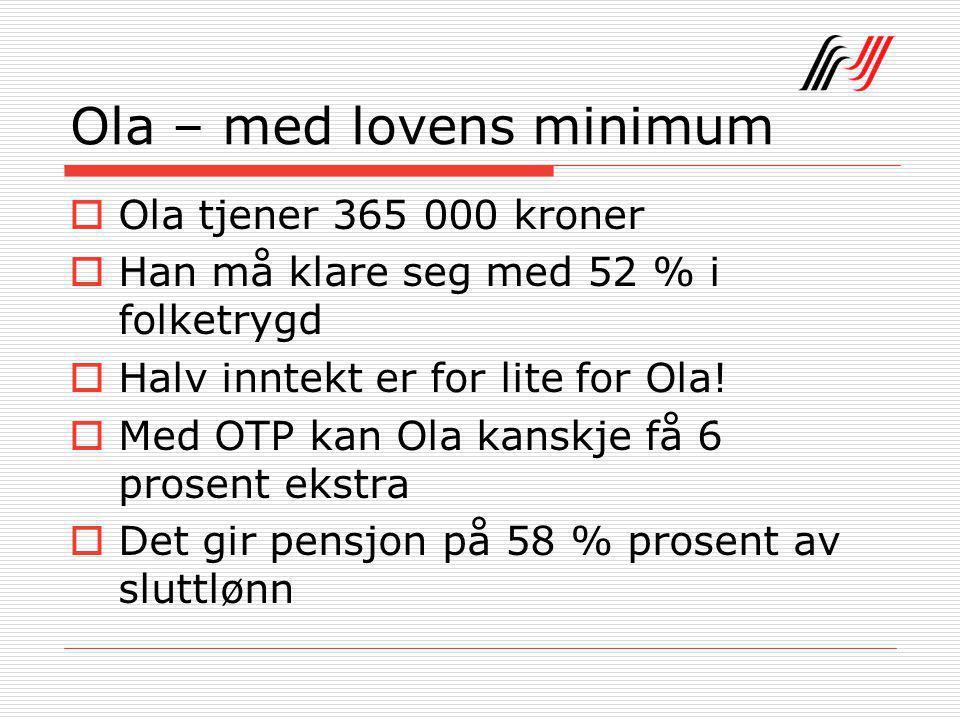 Ola – med lovens minimum  Ola tjener 365 000 kroner  Han må klare seg med 52 % i folketrygd  Halv inntekt er for lite for Ola.