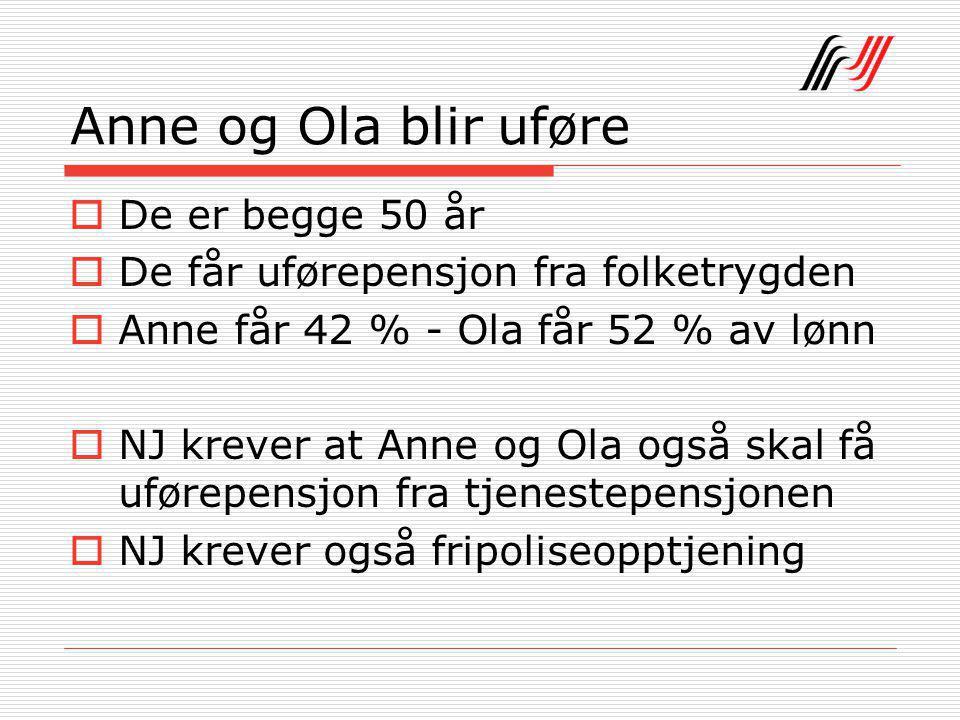 Anne og Ola blir uføre  De er begge 50 år  De får uførepensjon fra folketrygden  Anne får 42 % - Ola får 52 % av lønn  NJ krever at Anne og Ola også skal få uførepensjon fra tjenestepensjonen  NJ krever også fripoliseopptjening