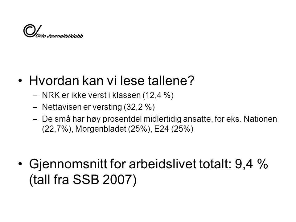 Hvordan kan vi lese tallene? –NRK er ikke verst i klassen (12,4 %) –Nettavisen er versting (32,2 %) –De små har høy prosentdel midlertidig ansatte, fo