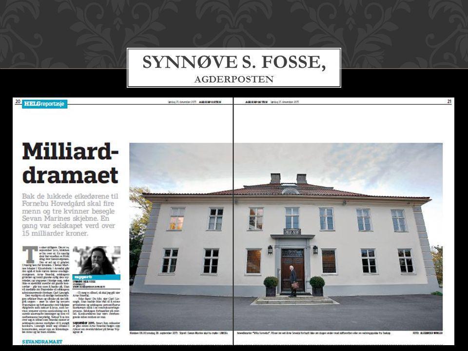SYNNØVE S. FOSSE, AGDERPOSTEN