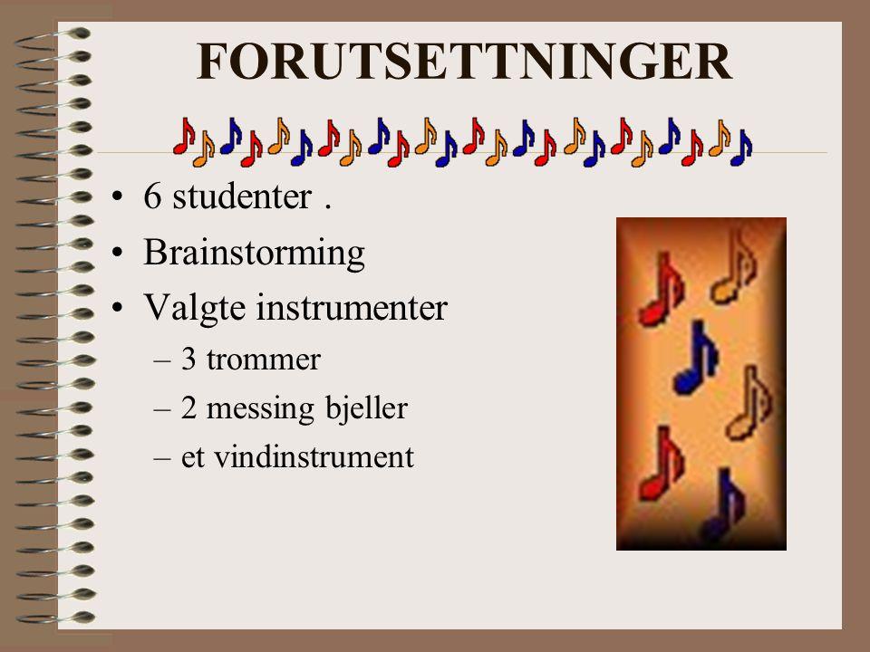 FORUTSETTNINGER 6 studenter. Brainstorming Valgte instrumenter –3 trommer –2 messing bjeller –et vindinstrument