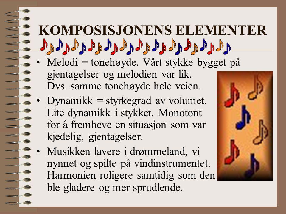 KOMPOSISJONENS ELEMENTER Melodi = tonehøyde. Vårt stykke bygget på gjentagelser og melodien var lik. Dvs. samme tonehøyde hele veien. Dynamikk = styrk