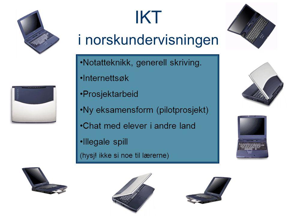 IKT i norskundervisningen Notatteknikk, generell skriving. Internettsøk Prosjektarbeid Ny eksamensform (pilotprosjekt) Chat med elever i andre land Il