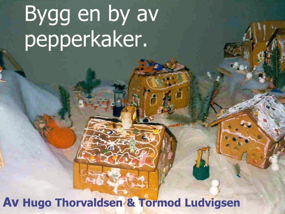 Bygg en by av pepperkaker. Av Hugo Thorvaldsen & Tormod Ludvigsen
