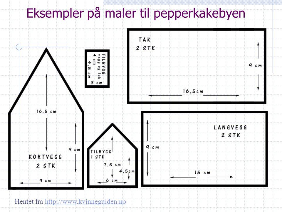 Eksempler på maler til pepperkakebyen Hentet fra http://www.kvinneguiden.nohttp://www.kvinneguiden.no
