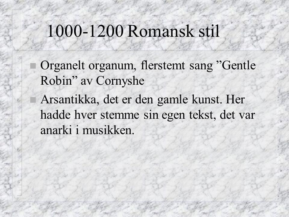 1000-1200 Romansk stil n Organelt organum, flerstemt sang Gentle Robin av Cornyshe n Arsantikka, det er den gamle kunst.
