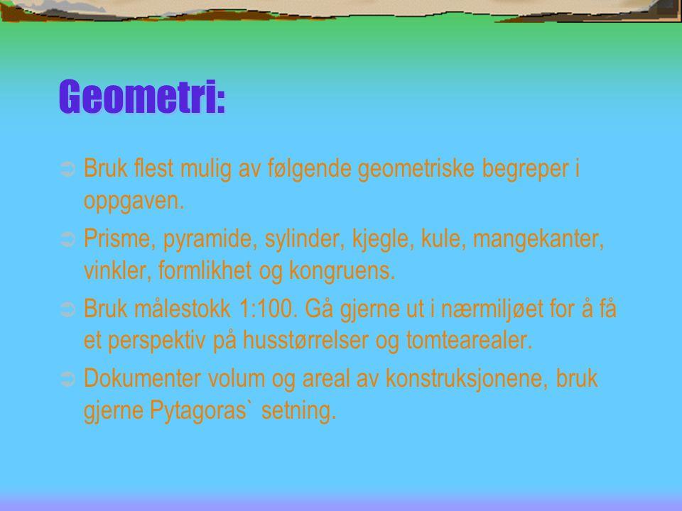 Geometri:  Bruk flest mulig av følgende geometriske begreper i oppgaven.  Prisme, pyramide, sylinder, kjegle, kule, mangekanter, vinkler, formlikhet