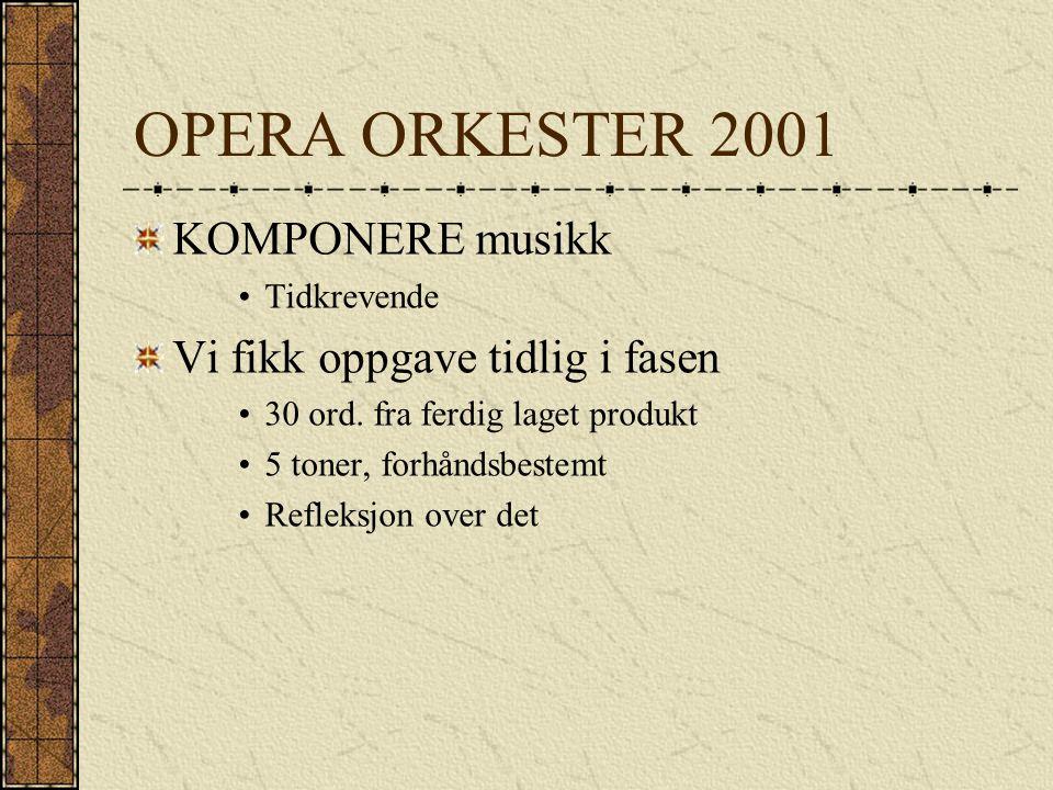 OPERA ORKESTER 2001 KOMPONERE musikk Tidkrevende Vi fikk oppgave tidlig i fasen 30 ord.