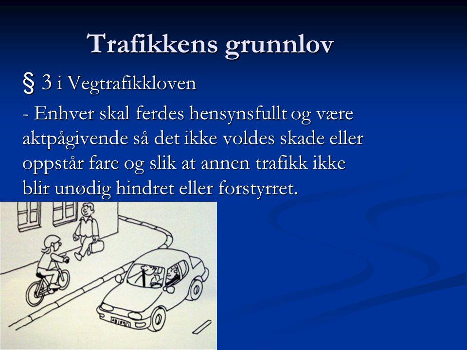 Trafikkens grunnlov § 3 i Vegtrafikkloven - Enhver skal ferdes hensynsfullt og være aktpågivende så det ikke voldes skade eller oppstår fare og slik a