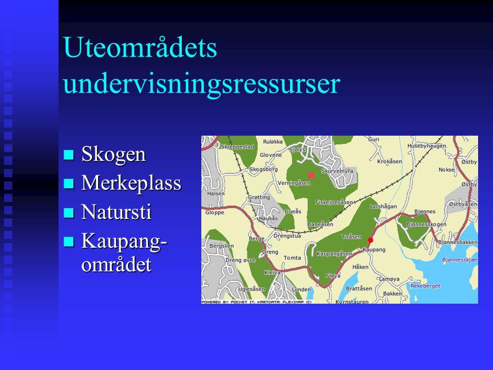 Uteområdets undervisningsressurser Skogen Skogen Merkeplass Merkeplass Natursti Natursti Kaupang- området Kaupang- området