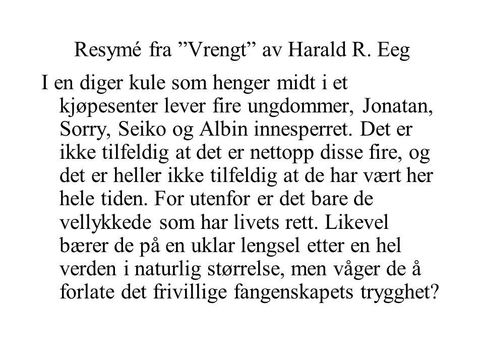 """Resymé fra """"Vrengt"""" av Harald R. Eeg I en diger kule som henger midt i et kjøpesenter lever fire ungdommer, Jonatan, Sorry, Seiko og Albin innesperret"""