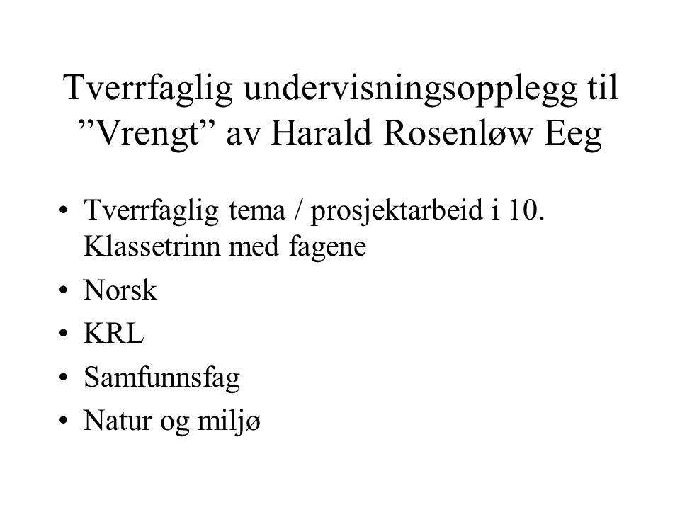 """Tverrfaglig undervisningsopplegg til """"Vrengt"""" av Harald Rosenløw Eeg Tverrfaglig tema / prosjektarbeid i 10. Klassetrinn med fagene Norsk KRL Samfunns"""