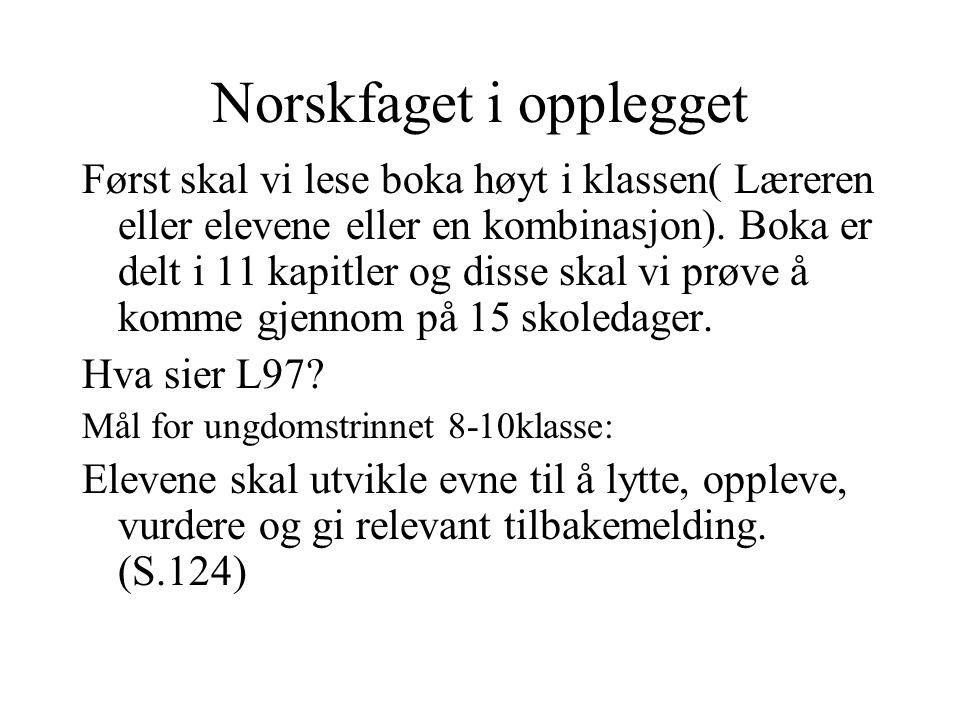 Norskfaget i opplegget Etter hvert lest kapittel skriver elevene leselogg , i den forstand at de i 2-3 min.