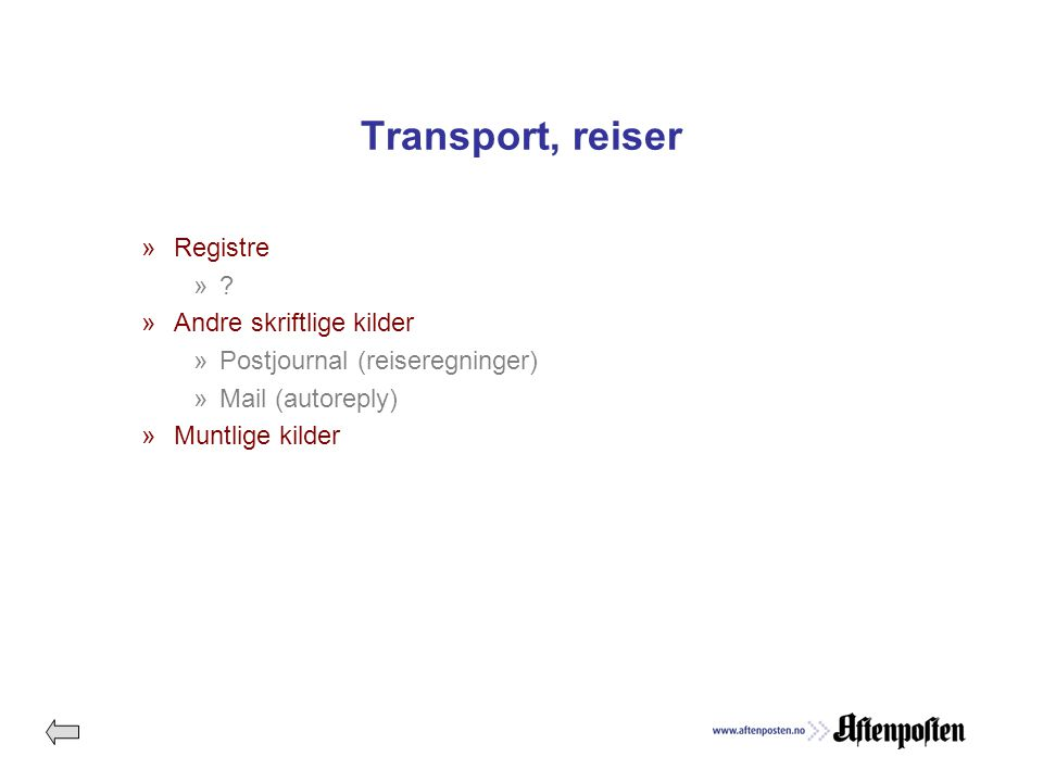 Transport, reiser »Registre ».