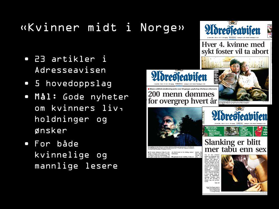 «Kvinner midt i Norge» 23 artikler i Adresseavisen 5 hovedoppslag Mål: Gode nyheter om kvinners liv, holdninger og ønsker For både kvinnelige og mannl