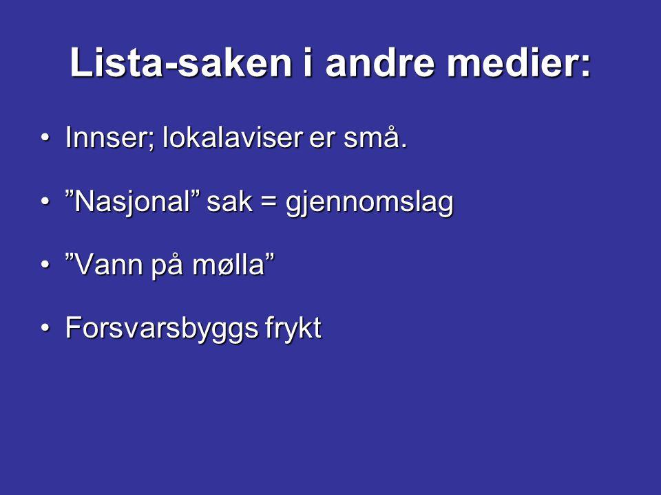 """Lista-saken i andre medier: Innser; lokalaviser er små.Innser; lokalaviser er små. """"Nasjonal"""" sak = gjennomslag""""Nasjonal"""" sak = gjennomslag """"Vann på m"""