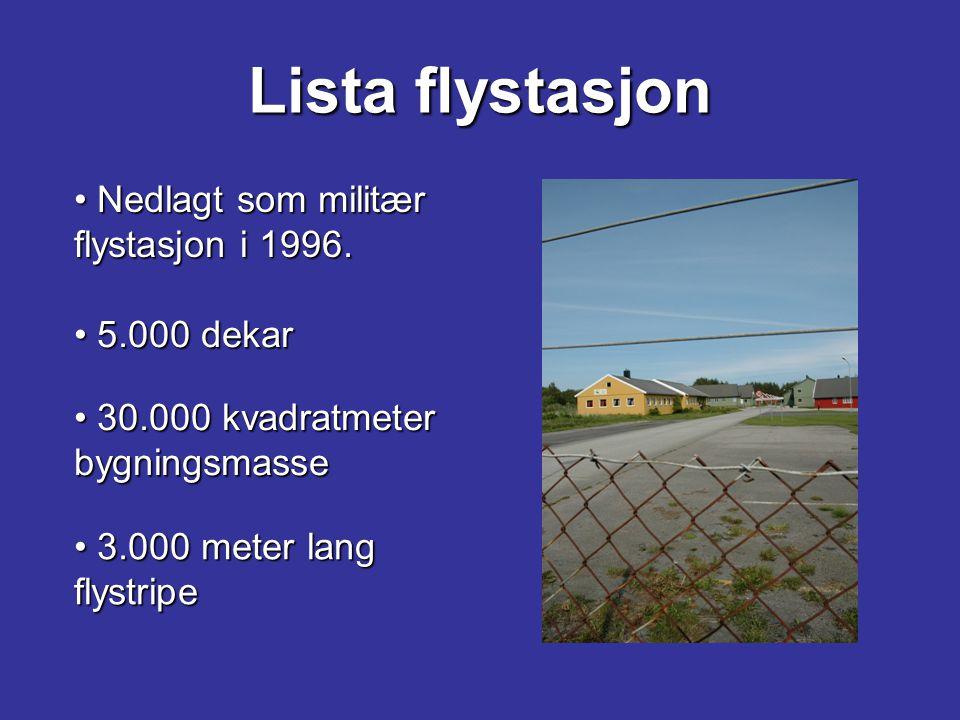 Lista flystasjon Nedlagt som militær flystasjon i 1996. Nedlagt som militær flystasjon i 1996. 5.000 dekar 5.000 dekar 30.000 kvadratmeter bygningsmas