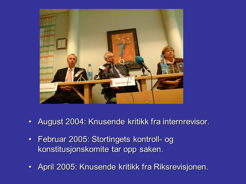 August 2004: Knusende kritikk fra internrevisor.August 2004: Knusende kritikk fra internrevisor. Februar 2005: Stortingets kontroll- og konstitusjonsk