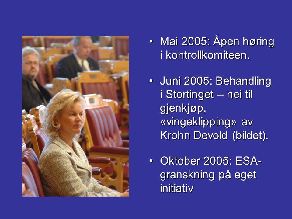 Mai 2005: Åpen høring i kontrollkomiteen.Mai 2005: Åpen høring i kontrollkomiteen. Juni 2005: Behandling i Stortinget – nei til gjenkjøp, «vingeklippi
