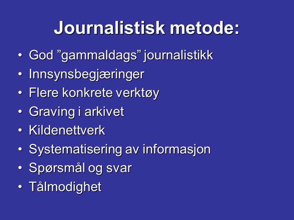 """Journalistisk metode: God """"gammaldags"""" journalistikkGod """"gammaldags"""" journalistikk InnsynsbegjæringerInnsynsbegjæringer Flere konkrete verktøyFlere ko"""