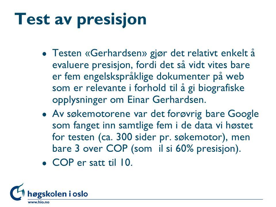Test av presisjon l Testen «Gerhardsen» gjør det relativt enkelt å evaluere presisjon, fordi det så vidt vites bare er fem engelskspråklige dokumenter